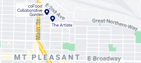A map of the Mount Pleasant Neighbourhood, showing the coFood Collaborative Garden, and The Artiste